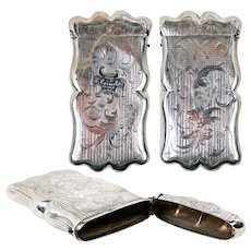 """Antique Sterling Silver Cigar Case, Etui, Holds 3 5"""" long Cigars, or specs, Engraved 1858"""