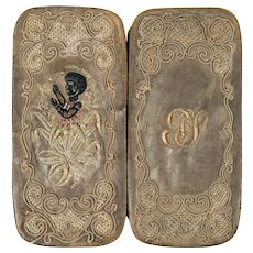 RARE Antique Cigar Case, Silk Embroidery Blackamoor, Leather Case Holds 6 Cigars or Your Specs