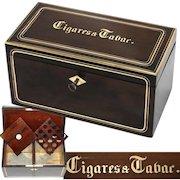 "Antique French Napoleon III Era 10"" Tobacco & Cigars Box, Casket: Walnut & Brass Inlay, ""Cigares & Tabac"""