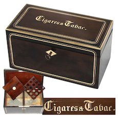 "Antique French Napoleon III Era 10"" Tobacco & Cigars Box, Casket: Walnut & Brass Inlay, ""Cigares & Tabac"""