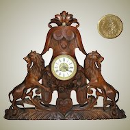 "HUGE Antique Victorian Era Carved 26"" Wide Mantel Clock, Lion Rampant Figural, Japy Freres Clock Movement"