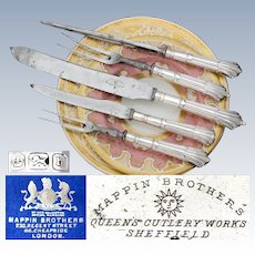 "Fab Antique Mappin Brothers Marked 5pc Sterling Silver Meat Carving Set, Original Box: ""Queen's Cutlery Works, Sheffield"""