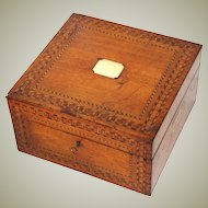 """Antique Victorian Era 13.5"""" Tunbridge Style Chest, Box with Ornate Marquetry Inlay, Brass Cartouche & Handles"""
