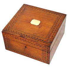"Antique Victorian Era 13.5"" Tunbridge Style Chest, Box with Ornate Marquetry Inlay, Brass Cartouche & Handles"