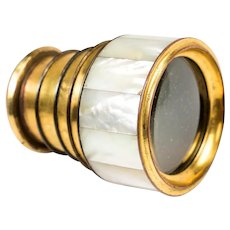 Rare Antique French Napoleon III Era Gilt Bronze & Mother of Pearl 4-Draw Monocular