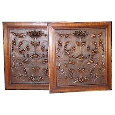 "PAIR Antique Victorian 21x19"" Carved Wood Architectural Furniture Door Panels, Scrolled Foliage"