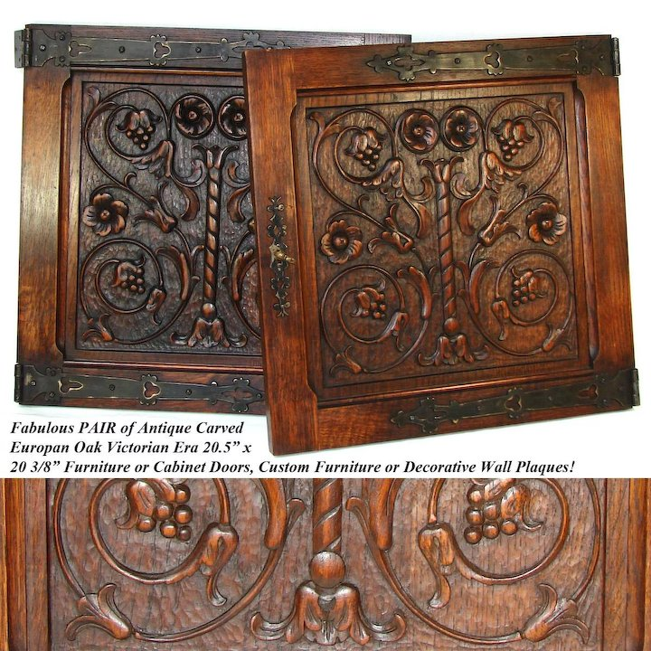 PAIR Antique Victorian 20x20  Carved Wood Architectural Furniture Door Panels Gothic Style Hinges & PAIR Antique Victorian 20x20