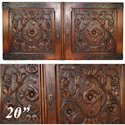 "PAIR Antique Victorian 20x22"" Carved Wood Architectural Furniture Door Panels, Gothic Style Hinges"
