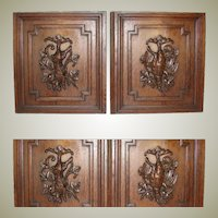 "PAIR Antique Victorian 25x23"" Carved Wood Architectural Furniture Doors, Panels: Hunt Themed Hare & Game Hen"