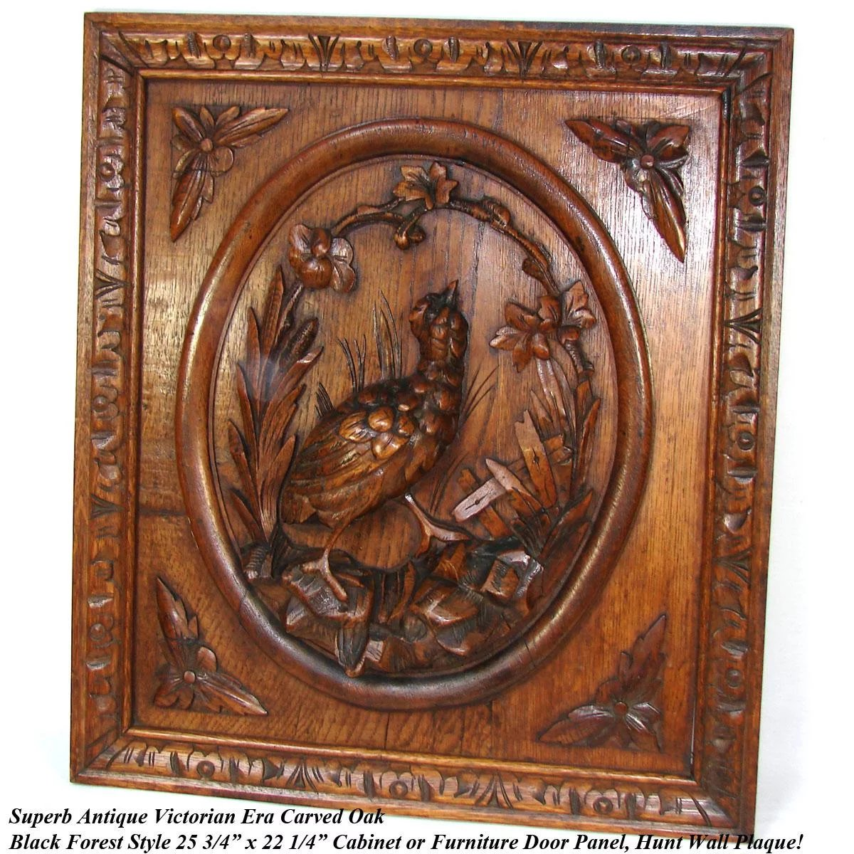 Black Forest Style Carved Antique 25 Quot Cabinet Door Plaque