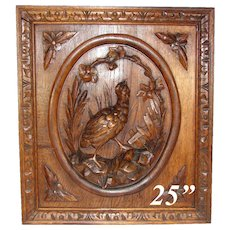 "Black Forest Style Carved Antique 25"" Cabinet Door, Plaque, Figural Hunt Theme Game Hen & Foliage"
