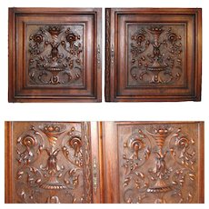 "PAIR Antique Victorian 25x25"" Carved Wood Architectural Furniture Door Panels, Scrolled Foliage"