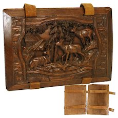 Charming Antique Victorian Black Forest Carved Folio or Book Cover, Cabin & Chamois Figures