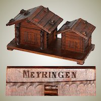 Delightful Antique to Vintage Black Forest Carved Inkwell & Stamp Box, Two Cabins, Meyringen Souvenir