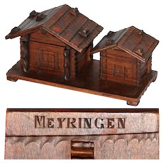 Delightful Antique to Vintage Black Forest Carved Inkwell & Stamp Box, Two Cabins, Meyringen Souvenir