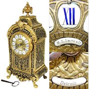 """Antique French 12.5"""" Boulle Mantel Clock, Enamel Dial, Figural Gilt Ormolu: Made for M.S. Smith & Co. Detroit"""