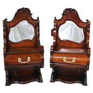 "PAIR Antique Victorian to Edwardian Era 28"" Wall or Table Top Chest, Bru Doll Sized Furniture, Beveled Mirrors"