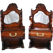 """PAIR Antique Victorian to Edwardian Era 28"""" Wall or Table Top Chest, Bru Doll Sized Furniture, Beveled Mirrors"""