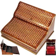 """Superb Antique French Kingwood  Ecritoire, Writing Box, Lap Desk: Gorgeous """"Tumbling Blocks"""" Marquetry Inlay"""