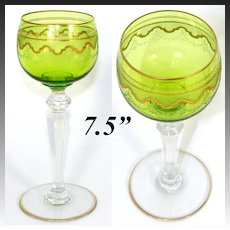 Elegant Saint Louis Crystal Chartreuse to Clear Gold Enamel Encrusted Wine Hock, Goblet