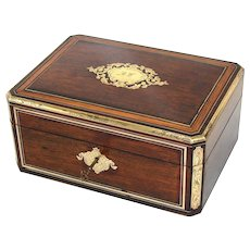"Beautiful Antique Victorian Era Rosewood & Brass Inlay 12"" Dressing Box, Vanity Chest"