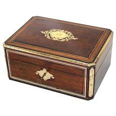 "Beautiful Antique Victorian Era Rosewood & Brass Inlay 12"" Dressing Box, Vanity Chest"
