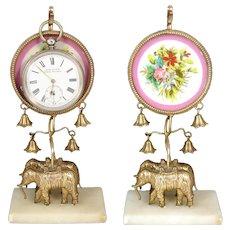 Antique French Napoleon III Era Palais Royal Style Pocket Watch Display, Elephant Figural