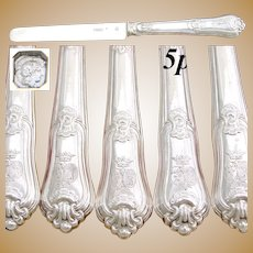 "Antique French Sterling Silver 15pc 8"" Dessert, Entremet or Luncheon Knife Set, Crown Top Armorial Heraldry"
