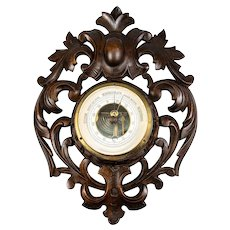 Antique Hand Carved Black Forest Wall Barometer, Aneroid & Working