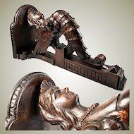 "Superb Antique Hand Carved Figural Bracket Shelf, 17.5"" Tall Chimera or Sphinx"