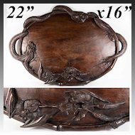 "Antique Hand Carved Asian Teak 22.5"" x 16"" Bar, Service Tray, Dragon & 2 Bat Figural, Exquisite!"