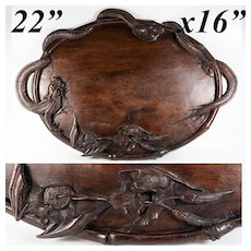 "Antique Hand Carved Asian Teak 22.5"" x 16"" Bar, Service Tray, Dragon & 2 Bat Figural, Exquisite!"