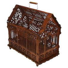 "Fab Antique Victorian German 17"" Birdcage, Gothic Style Scroll Cut Wood: E. Breuninger, Stuttgart"