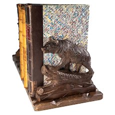 Antique Hand Carved Wood Black Forest Expanding Book Rack, Holder, Bears