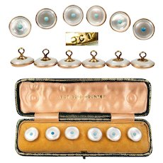 Antique Set of 6 9K Gold and Mother of Pearl Buttons, Tuxedo Studs, Blue Opaline, Orig Box
