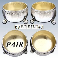 Lovely PAIR of Antique French CARDEILHAC Sterling Silver Open Salts, Louis XVI Rococo Style