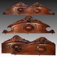 "PAIR of Antique Victorian or Napoleon III Era Carved Walnut 40"" Furniture or Architectural Cornice, Crowns"
