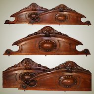 """PAIR of Antique Victorian or Napoleon III Era Carved Walnut 40"""" Furniture or Architectural Cornice, Crowns"""