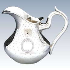 Elegant Antique French? Sterling Silver Cream Jug or Syrup Pitcher, Guilloche Style Decoration