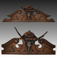 "Large Antique Victorian Era Black Forest Style Carved Oak 39.75"" Furniture or Architectural Cornice, Deer or Stag Bust"