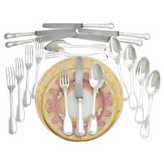 """Rare Antique French 1798-1838 Sterling Silver 18pc Dinner Sized Flatware Set, 3pc Setting for SIX, English Thread or """"Filet"""" Pattern"""