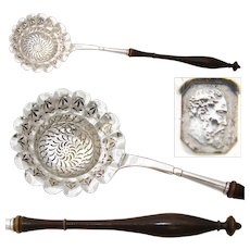 "Antique French Sterling Silver 10.5"" Confectioner's Sugar Sifting Ladle, 1819-1838 Hallmarks"