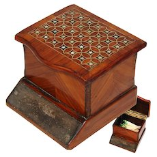 Antique Napoleon III Era Casket, Match Holder with Shagreen Striker Panel, Kingwood & Brass Marquetry Inlay