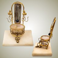 Antique French Thermometer Stand and Trinket Tray, c.1830 Palais Royal, Mother of Pearl