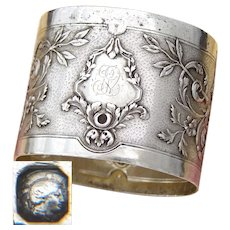 """Superb Antique French Sterling Silver 2"""" Napkin Ring, Highly Ornate Louis XVI Decoration"""