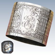 "Antique French Sterling Silver Napkin Ring, Highly Ornate Guilloche Style, ""EH"" Monogram"
