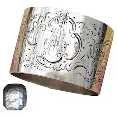 Antique French Sterling Silver Napkin Ring, Ornate Louis XVI Pattern, 48gm