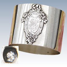 Antique French Sterling Silver Napkin Ring, Classical Style Raised Floral Accented Medallion