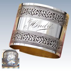 "Antique French Sterling Silver Napkin Ring, Machined Foliate Band Decoration, ""Andre"" Inscription"