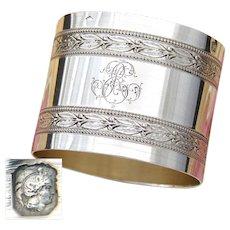 "Antique French Sterling Silver 2"" Napkin Ring, Classical Empire Laurel Bands, ER or RE Monogram"